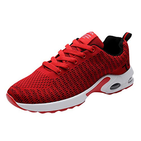 Gleamfut Men's Fly Woven Running Sneakers Fashion Non-Slip Breathable Mesh Sport Wear-Resistant Air Cushion Shoes Red