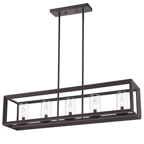 Emliviar 5-Light Kitchen Island Lighting, Modern Domestic Linear Pendant Light Fixture, Oil Rubbed Bronze Finish with Clear Glass Shade, 2074LP ORB - llightsdaddy - EMLIVIAR - Island Lights