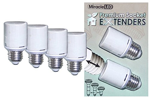 Miracle LED 604830 Premium U.L. Listed Socket Extenders for LED CFL and Incandescent light bulbs, 4 Pack (Two x 2-Packs)