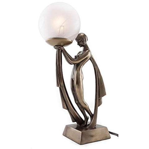 Top Collection Modern Art Deco Lady Lamp Statue - Decorative Table Lamp Sculpture in Premium Cold Cast Bronze- 16-Inch Collectible Beautiful Light Lighting Decor Goddess Figurine
