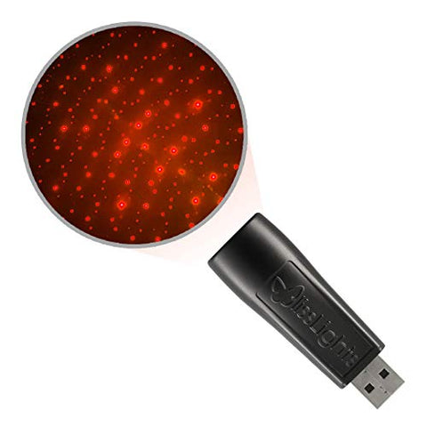 BlissLights Starport USB Laser Star Projector for Party Decor, Bedroom Night Light, or Mood Lighting Ambiance (Red)
