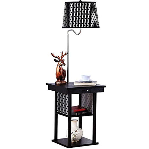 Brightech Madison - Mid Century Modern Nightstand, Shelves & USB Port Combination - Bedside Table with LED Floor Lamp Attached - End Table for Living Room Sofas - Black - llightsdaddy - Brightech - Outdoor Floor Lamps