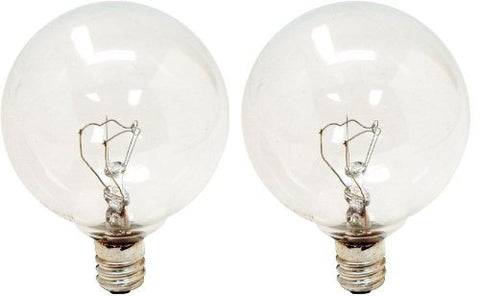 GE Lighting Crystal Clear 17722 25-Watt, 195-Lumen G16.5 Light Bulb with Candelabra Base, 2-Pack - llightsdaddy - GE Lighting - Incandescent Bulbs