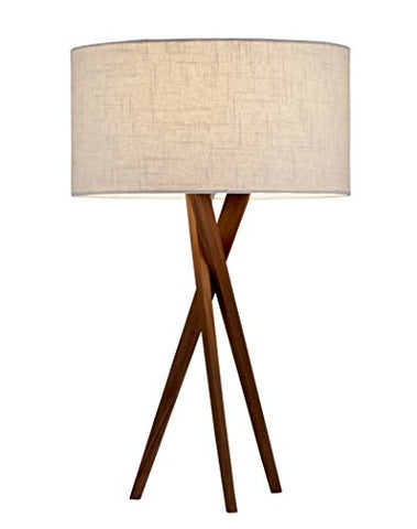 Adesso 3226-15 Table Lamp Brooklyn - Smart Outlet Compatible, Tripod Base, Wooden Lighting Accessory Home Decor Items, 29.5""