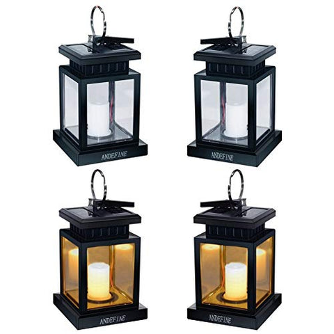 ANDEFINE Hanging Solar Lanterns, Hanging Solar Lights Outdoor Umbrella Lights Waterproof Candle Lamps Hang on Trees Patio Landscape Yard Solar Garden Lights (Yellow Light, 4 Pack) - llightsdaddy - ANDEFINE - Umbrella Lights