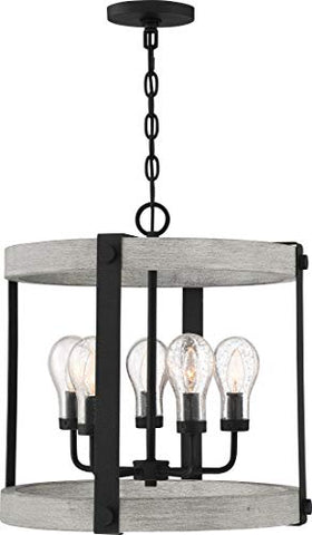 Quoizel CAL2821GK Carlisle Farmhouse Outdoor Pendant Lantern, 5-Light 300 Watts, Grey Ash