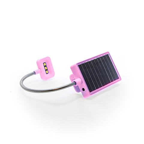 Solar Rechargeable Book Light Ideal for Reading in Bed - Solar or USB Rechargeable LED Clip-On Reading Light - 2 Light Settings Suitable for Bed Reading and Car Reading - Perfect for Kids (Pink) - llightsdaddy - The Solar Book Light Company - Book Lights