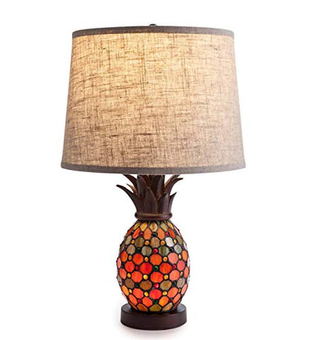 Plow & Hearth Pineapple Stained Glass Table Lamp - 14'' Dia. x 23.5''H