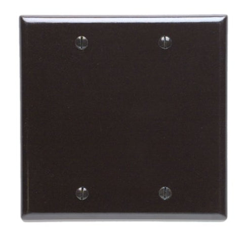 Leviton 85025 2-Gang No Device Blank Wallplate, Standard Size, Thermoset, Box Mount, Brown - llightsdaddy - Leviton - Wall Plates