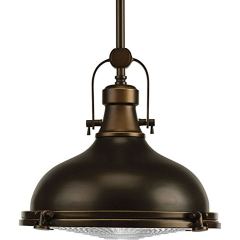 Progress Lighting P5188-10830K9 Restoration One Light Pendant from Fresnel Lens Collection Dark Finish, Oil Rubbed Bronze