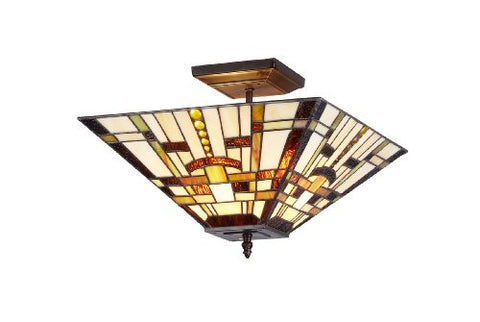 "Chloe Lighting CH33290MS14-UF2 Farley 2-Light Tiffany Style Mission Semi Flush Ceiling Fixture with Shade, 10.6 x 14 x 14"", Bronze"