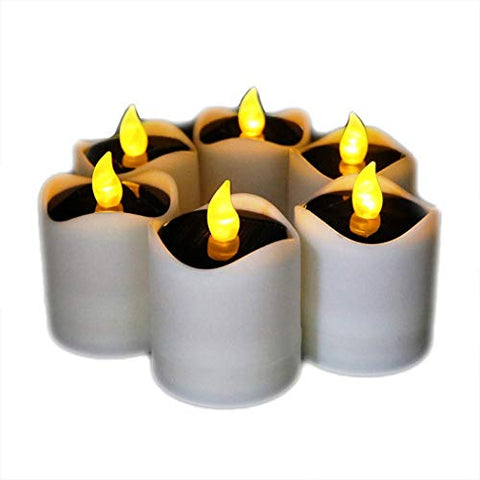 6 Pcs Solar LED Candles Waterproof Romantic Electronic Tealight Solar Candles Fake Candles Solar Emergency Night Light for Camping Traveling Outdoor Home Party Decoration (Amber-yellow Flickering) - llightsdaddy - Little bees - Flameless Candles