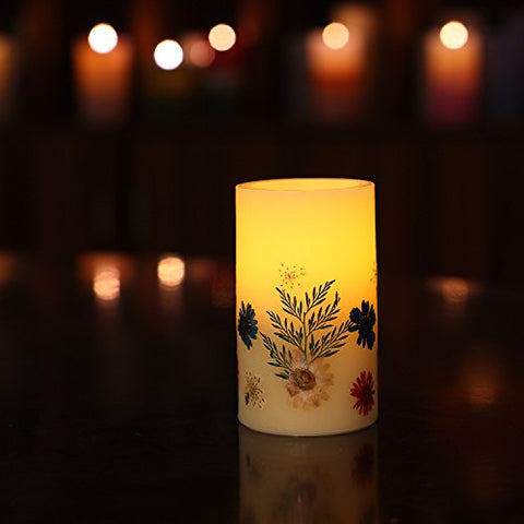 Romingo LED Candles Flickering Pillar Flameless Candle Battery Operated Candle with Timer with Flowers (3x5'')-Yellow - llightsdaddy - Romingo - Flameless Candles