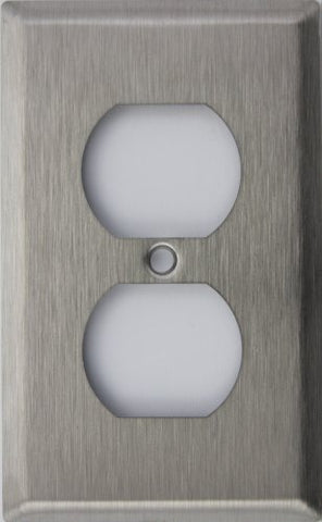 Brushed Satin Stainless Steel One Gang Duplex Outlet Wall Plate - llightsdaddy - Classic Accents - Wall Plates
