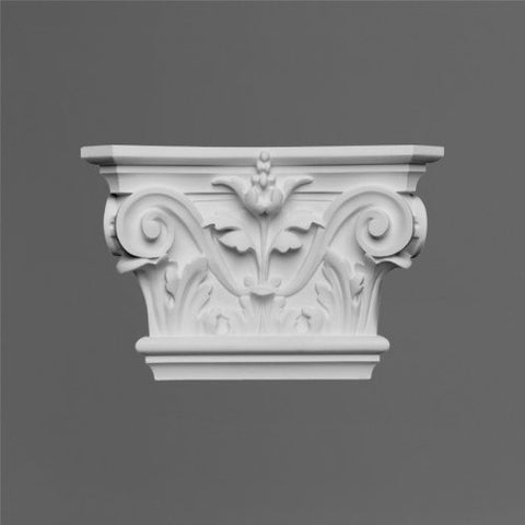 "Orac K201 Capital for fluted Pilaster 6 Inches wide by 9 Inch high by 2 1/2"" deep white primed polyurethane"