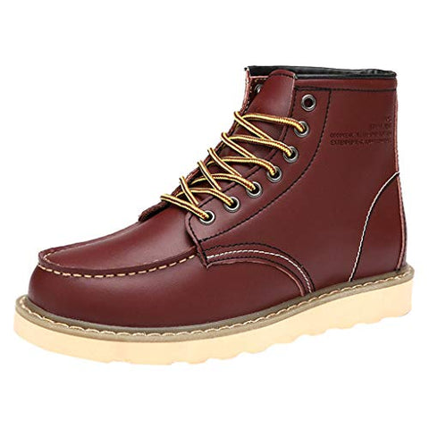 Gleamfut Men's Leather Lacing Ankle Boots Thick-Soled Waterproof Inside Plus Velvet Work Boots Wine Red