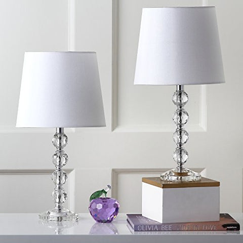 Safavieh Lighting Collection Nola Stacked Crystal Ball 16-inch Table Lamp (Set of 2)  Safavieh Lamp Shades llightsdaddy.myshopify.com lightsdaddy