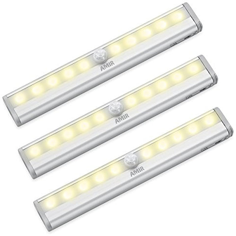 Amir Motion Sensing Closet Lights, 3 Pack Diy Stick-On Anywhere Portable 10-Led Wireless Cabinet Night/Stairs/ Step Light Bar With Magnetic Strip, Puck Lights (Warm White, Battery Operated) - llightsdaddy - Amir - Lights