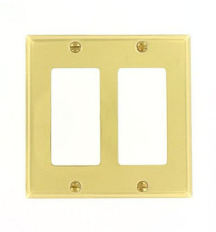Leviton 81409-PB 2-Gang Decora/GFCI Device Decora Wallplate, Brass, Device Mount, Polished Brass - llightsdaddy - Leviton - Wall Plates