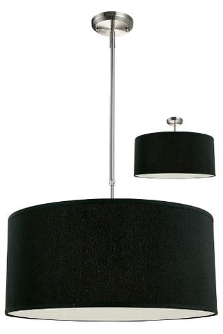 Z-Lite 171-24B-C Albion Three Light Pendant, Metal Frame, Brushed Nickel Finish and Black Shade of Fabric Material