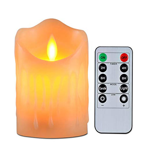 Flameless Candles with 10 Key Remote Timer Flickering Tear Wave Shaped Tealight Real Wax Simulate Dripping Led Candles Battery Operated Safe For Indoor Outdoor Decor 3 x 3.5 Inch - llightsdaddy - Wending - Flameless Candles