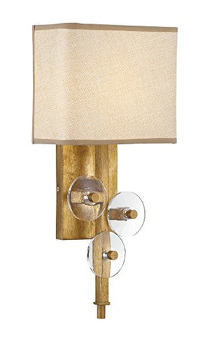 Rogue decor 612260 Engeared 1-Light Wall Sconce - Antiqued Gold Leaf with Gold Fabric