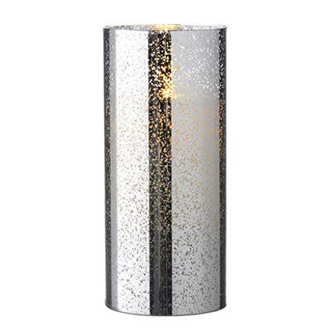"Liown 19753 - 8"" Silver/Mercury Glass Wax LED Pillar Candle with Timer - llightsdaddy - Liown - Flameless Candles"