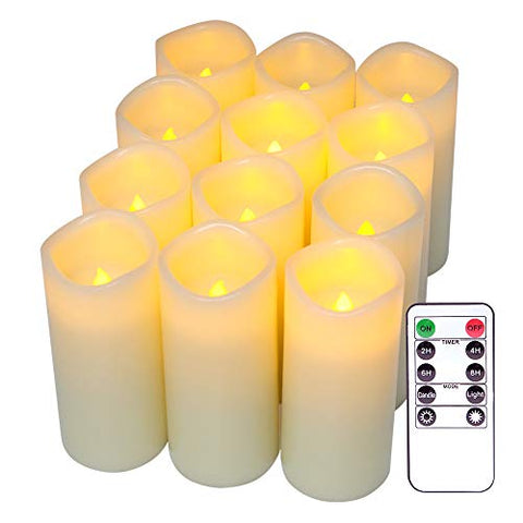 "DRomance Flameless Flickering Candles with Remote and Timer, Battery Operated LED Ivory Candles Real Wax Warm Light Wedding Dinner Party Christmas Decoration(Set of 12, 2.2""D x 5""H) - llightsdaddy - DRomance - Flameless Candles"