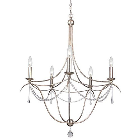 Crystorama-425-SA-Crystal-Accents-Five-Light-Chandeliers-from-Metro-II-collection-in-Pwt,-Nckl,-B/S,-Slvr.finish,