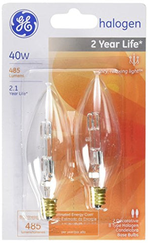 G E Lighting 16765 40CAC/H/CD2 40W Halogen Decorative Lamp (2 Pack) - llightsdaddy - GE Lighting - Wall Plates