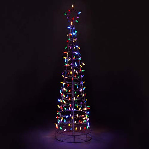 Aurio Au-3Ct6-M-S 6Ft 3D Cone Outdoor Christmas Tree With White Frame 300 Lights Multi-Color