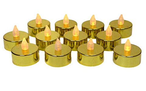 Gold LED Tea Light Candles - Set of 12 Metallic Flameless Candles - Flickering Candles - Gold Wedding Anniversary Christmas Decorations