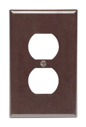 Leviton 80503 1-Gang Duplex Device Receptacle Wallplate, Midway Size, Thermoset, Device Mount, Brown - llightsdaddy - Leviton - Wall Plates