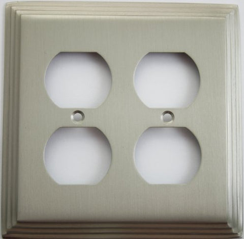 Satin Nickel Deco Step Style 2 Gang Duplex Outlet Wall Plate - llightsdaddy - Classic Accents - Wall Plates