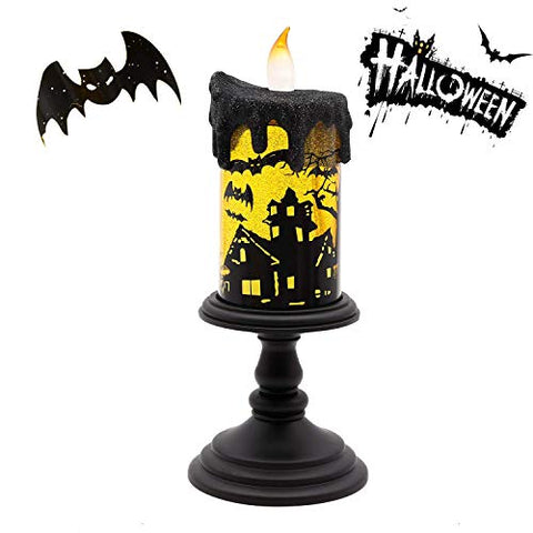 GiveU JT13007T Spinning Bat Tornado Lamp Battery Operated Water Glittering Table Centerpiece,Led Flameless Candle with Timer, for Halloween Party and Home Decoration, Black - llightsdaddy - Home Impressions - Flameless Candles