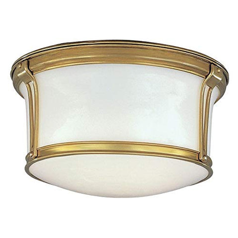 Newport Flush 2-Light Flush Mount - Aged Brass Finish with Opal Glossy Glass Shade