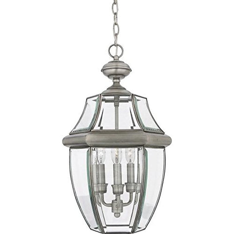 Quoizel NY1179P  Newbury 3-Light Outdoor Lantern, Pewter - llightsdaddy - Quoizel - Outdoor Lighting