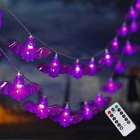 30LED Halloween String Lights, 8 Modes Bat Fairy Lights with Remote, Battery Operated Halloween Lights, for Outdoor Indoor Party Patio Halloween Decoration