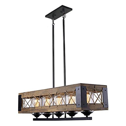 LALUZ Farmhouse Kitchen Island Lighting Wood Chandeliers for Dining Rooms A03145 - llightsdaddy - LALUZ - Island Lights
