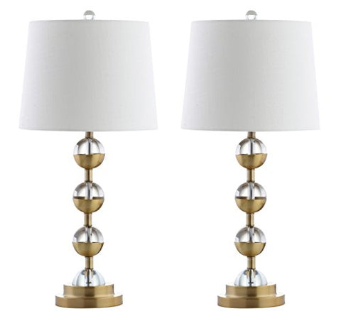 "Avery 27.5"" Crystal LED Table Lamp, Clear/Brass Gold (Set of 2), Modern, Contemporary, Bulbs Included"