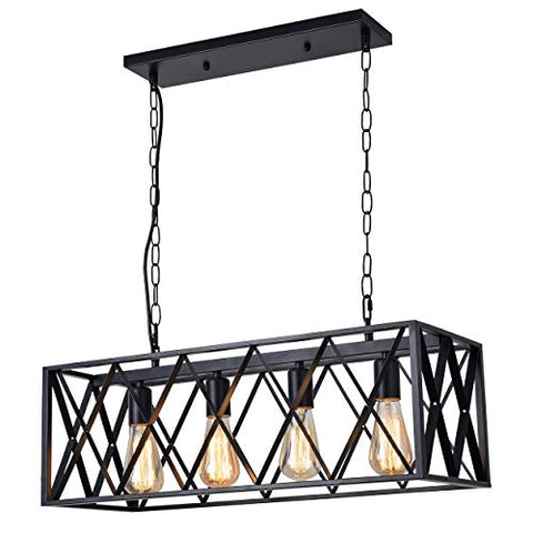 4-Light Kitchen Island Pendant Light Modern Industrial Chandelier Matte Black Box Frame Design (No Bulb Included) - llightsdaddy - SHIENTIA - Island Lights