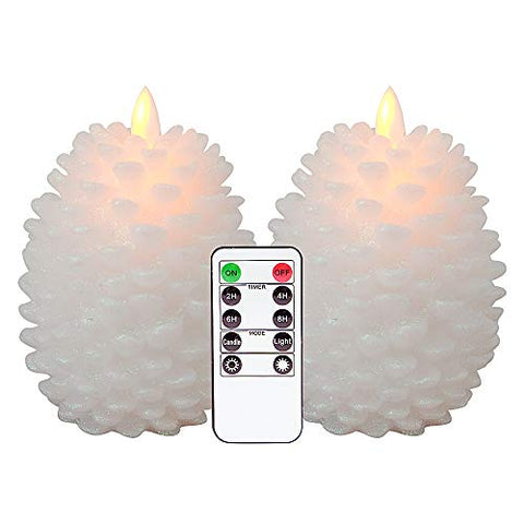 Eldnacele LED Pine Cone Candles Moving Wick with Remote Timer, Battery Operated Flameless Candles Unscented Wax Pinecone Candles White 2 Pack for Christmas Home Party Decoration - llightsdaddy - Eldnacele - Flameless Candles