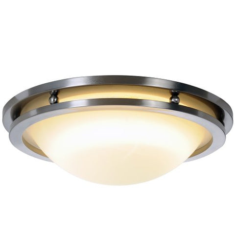 Monument 617612  Contemporary Flush Mount Ceiling Fixture Brushed Nickel 13-7/8 In