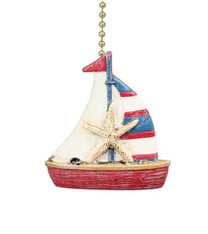 Clementine Design Nautical Coastal Sailboat Ceiling Fan Pull