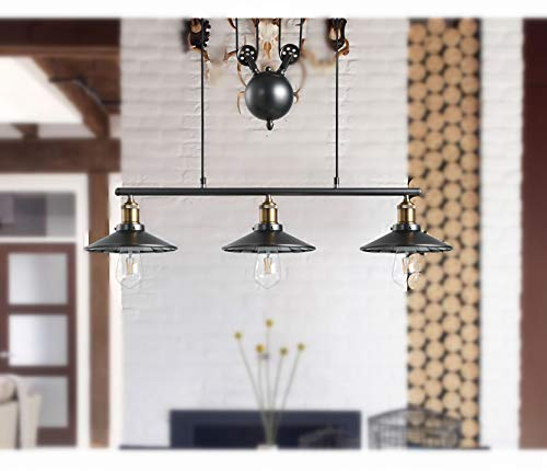 NIUYAO Industrial Vintage Chandeliers Pulley 3 Light Pendant Lighting  Fixture for Pool Table Farmhouse Kitchen Island Bar Retro Hanging Lamp 3  Heads ...