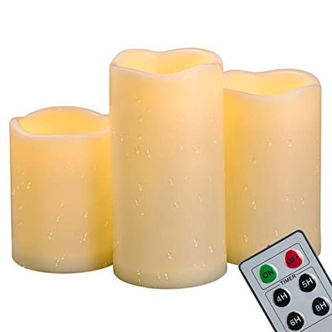 "4""5""6"" Outdoor Indoor Waterproof LED Pillar Candles with Remote & Timer/Large Battery Operated Flickering Flameless Plastic Fake Candles for Outside Patio Decorative Hanging Lantern Home Decor Set 3 - llightsdaddy - CANDLE IDEA - Flameless Candles"