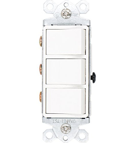 Baomain Triple Switch SW1506-2 15 Amp, 120/277 Volt, Single-Pole, AC Combination Switch, Commercial Grade, Grounded, White - llightsdaddy - Baomain - Wall Plates