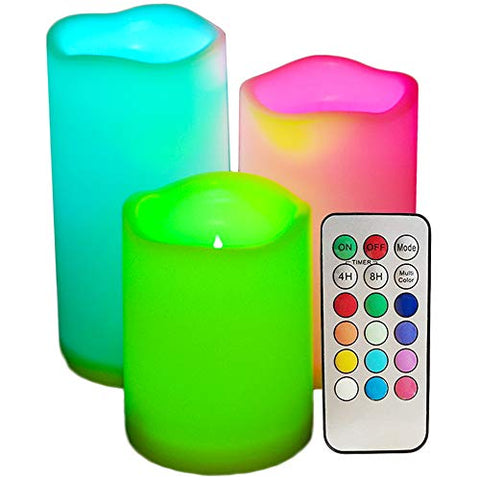 SWEETIME Set of 3 Color Changing Led Pillar Candles with Remote & Timer - 3x4 3x5 3x6 Multi Colored Flickering Outdoor Waterproof Flameless Candles Battery Operated. - llightsdaddy - Sweetime - Flameless Candles