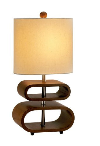 "Adesso 3202-15 Rhythm 19.5"" Table Lamp, Smart Outlet Compatible, One Size, Walnut"