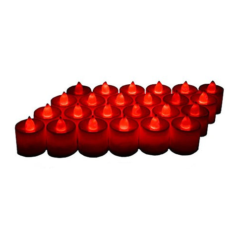 24 Pack LED Tea lights Candles - Flickering Flameless Tealight Candle - Battery Operated Electronic Fake Candles - Decoration for Wedding, Party, Dating and Festival Celebration (Red) - llightsdaddy - LANKER - Flameless Candles